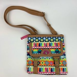 Lily Bloom Multi Colored Flower Crossbody Bag